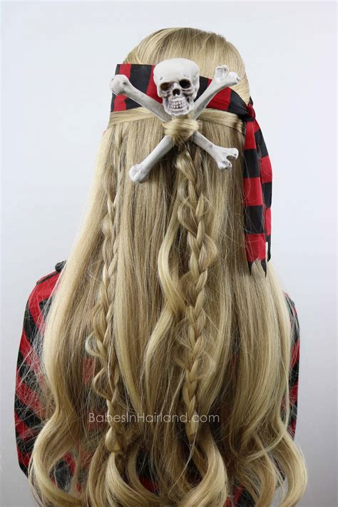 Halloween Hairstyles For Pirates | skull crossbones pirate hair halloween hairstyle