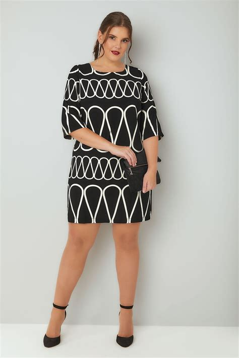 Add Target Gift Card To Account - paprika black white patterned shift dress with rear bow tie fastening plus size 16