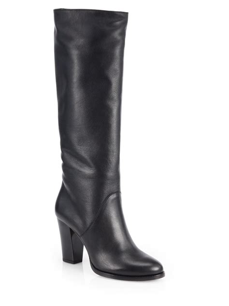 jimmy choo marvel leather knee high boots in black lyst