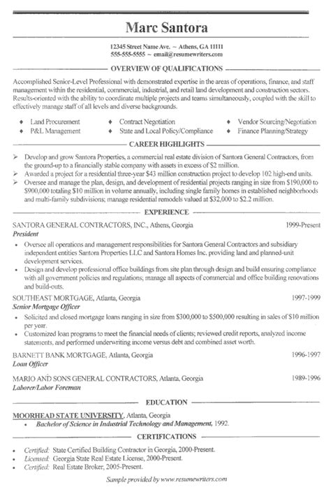 construction resume exle general contractor sle resumes