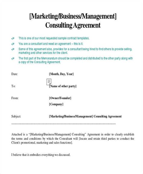 sales and marketing agreement template consulting agreement exle