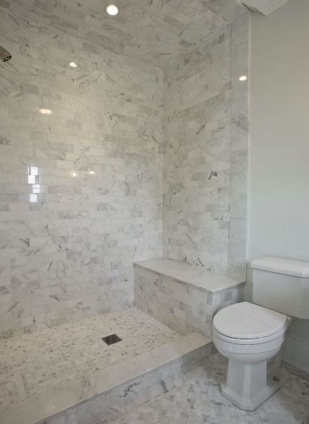 Carrera Marble Shower Tiles   Transitional   bathroom