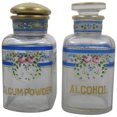 Vanity Bottles by A H Heisey Enameled Floral Roses And Gilded Glass