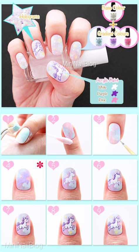 nail art drawing tutorial unicorn nail art nailbees