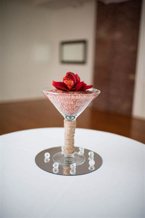 martini glass centerpieces wedding pinterest