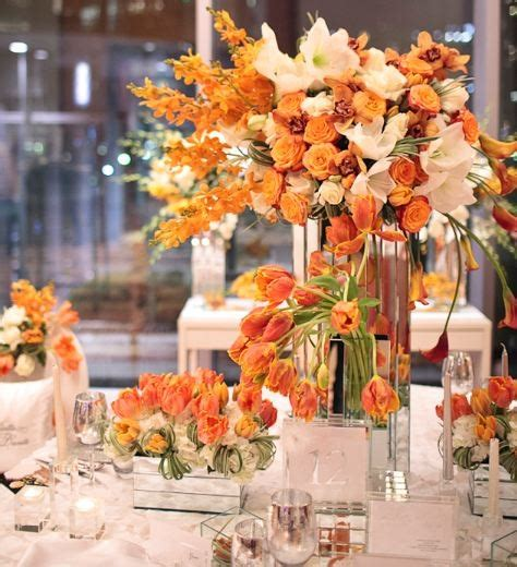 orange reception wedding flowers orange wedding decor - Wedding Flowers Orange County California 2