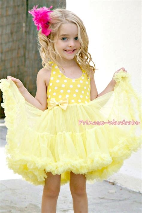 Yellow White Polka Dots Party Dress Full Tutu Petti Girl Dress Pettiskirt 2 8Y   eBay