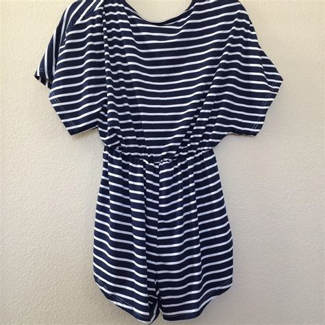 Stripe V Neck Top White Blue Size Ml blue and white striped v neck from western moon