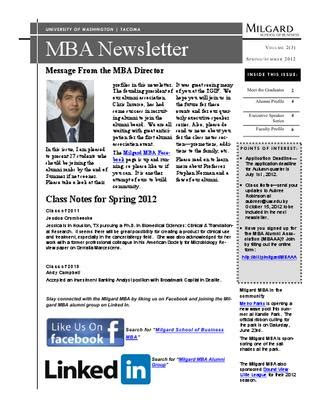 Uwt Mba And Summer News Letter by Milgard Mba Summer 2012 Newsletter By Aubree