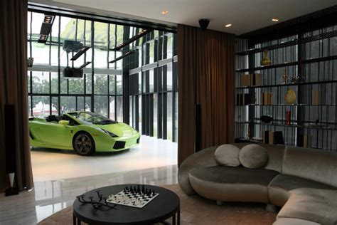car in living room super luxury singapore apartment with in room car parking