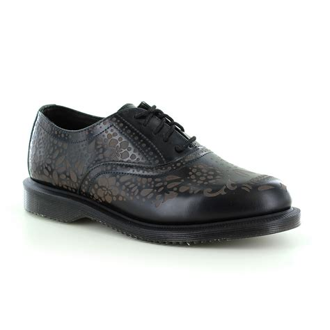 oxford shoes black dr martens aila womens skull etched 5 eyelet oxford shoes