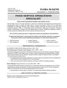 Exles Of Food Service Resumes by Sle Resumes Resumewriting