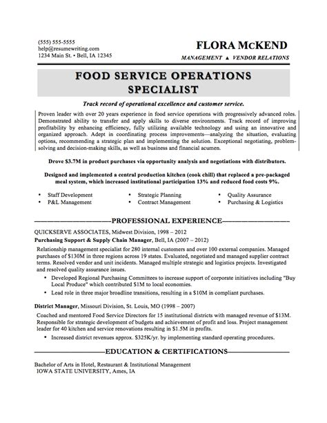Food Service Resume Sles by Sle Resumes Resumewriters