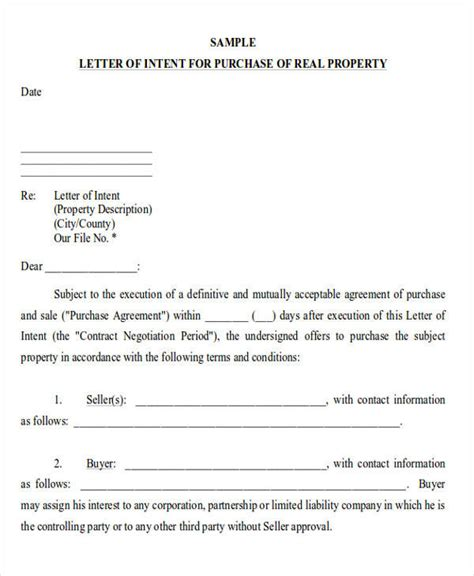 sample letter intent ms word