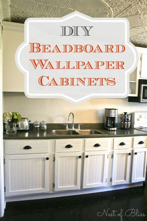 diy beadboard kitchen cabinets transform cabinets with this diy beadboard wallpaper