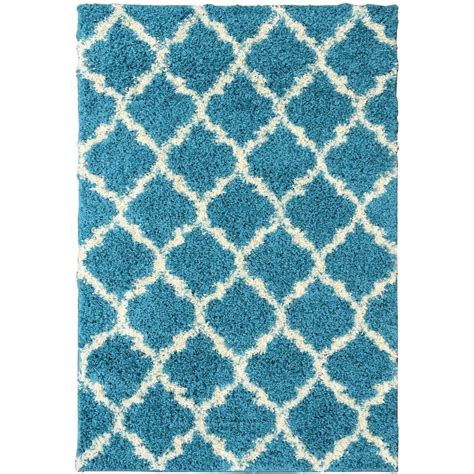 Aqua Kitchen Rug Ottomanson Ultimate Shaggy Contemporary Moroccan Trellis Design Turquoise 6 Ft 7 In X 9 Ft 3