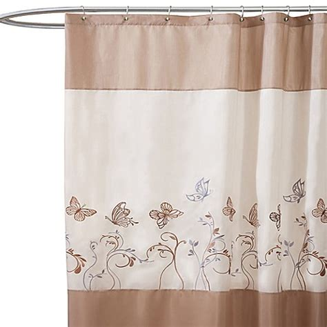 beige shower curtains buy butterfly dreams beige fabric shower curtain from bed