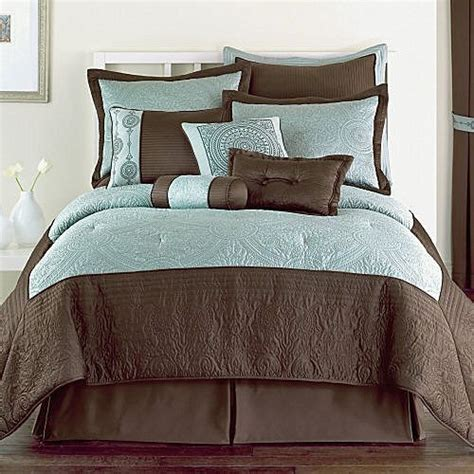 Blue Brown Comforter Set by 10p Blue Brown Classic Comforter Set Pretty New Ebay
