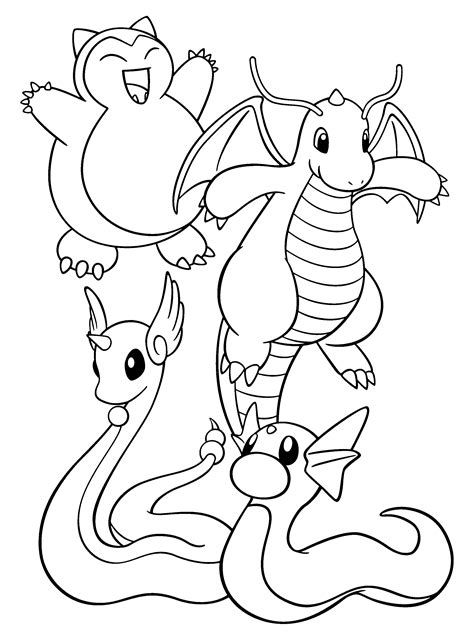 pokemon coloring pages dratini pokemon paradijs kleurplaat snorlax dragonite dragonair