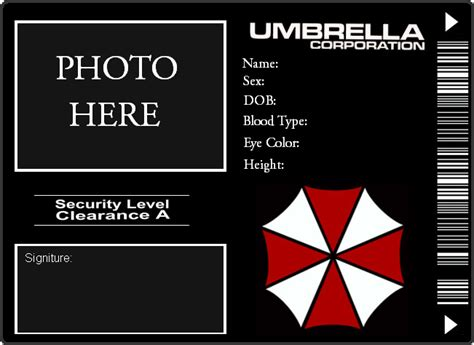 umbrella corporation id card template umbrella corp id by romancefuneral on deviantart