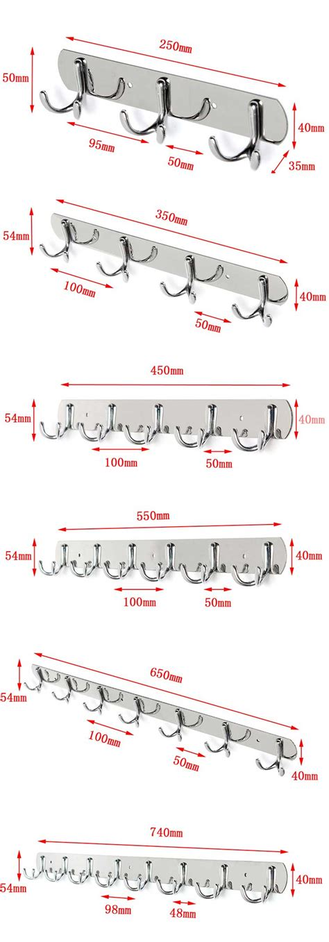 distance between coat hooks stainless steel bifurcation shape clothes robe hooks wall