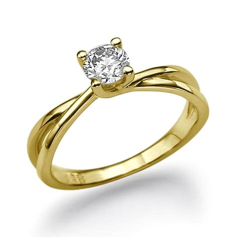 twist solitaire engagement ring in 18k yellow gold 51 ct