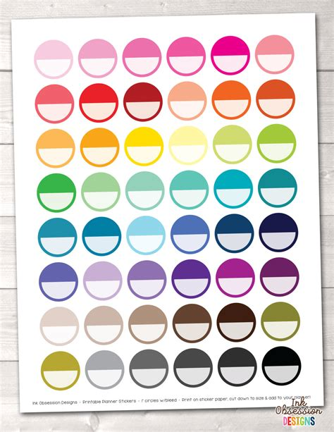 printable blank stickers printable planner stickers blank circles instant download