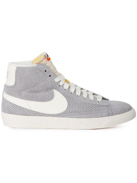 nike mid top shoes nike gray blazer mid top sneakers lyst