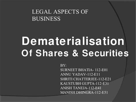 Dematerialisation Of Securities Mba Project by Demat Account Ppt