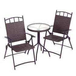 Wicker Bistro Table And Chairs Rattan Effect Bistro Set Table Two Folding Chairs