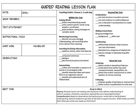 lesson plan template ks2 literacy guided reading lessons ks2 guided reading carousel plan