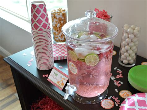 baby shower beverages pink baby shower drink station printables for
