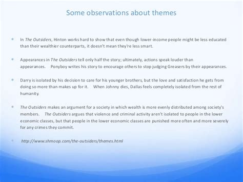 themes of the outsiders essay the outsiders essay power point cm