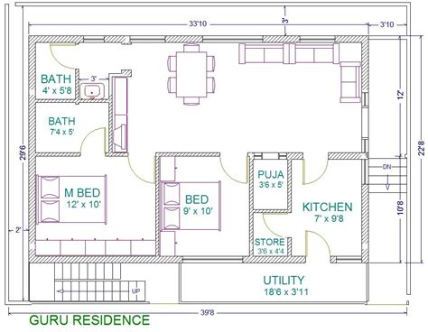 30x40 2 Bedroom House Plans Plans For East Facing Plot 30x40 House Plan Ground Floor