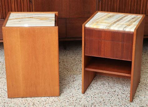 unique bespoke palm bay teak oak and onyx nightstands at