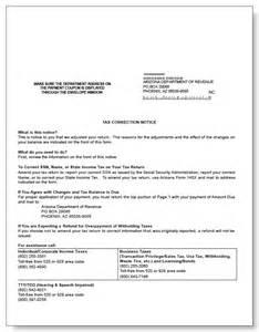 arizona tax correction notice sample