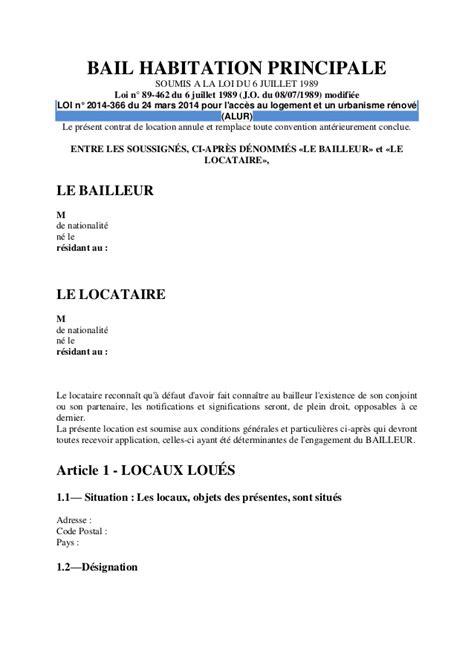Contrat Location Meublée Gratuit by Modele Bail Location Loi 1989 Document
