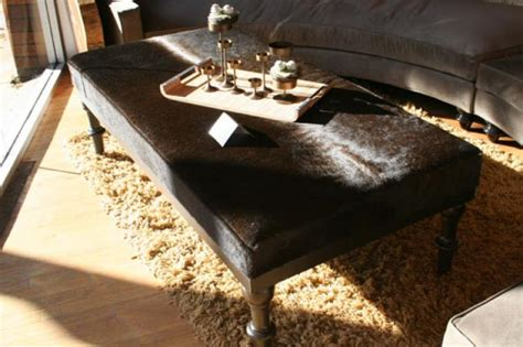 cowhide coffee table ottoman www roomservicestore com cowhide ottoman in chocolate