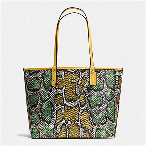 Coach Ergo Printed Python Large Tote by Coach F37676 Reversible City Tote In Snake Print Coated