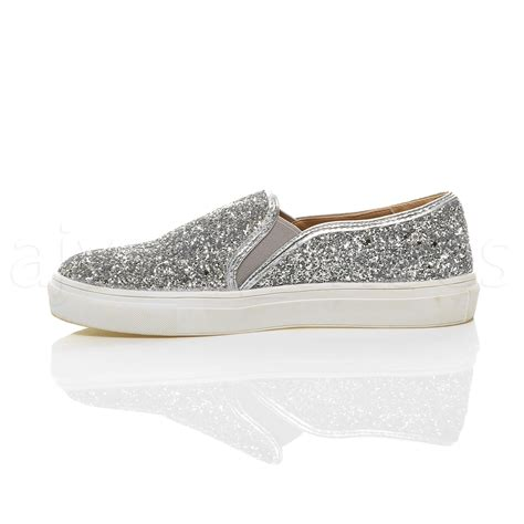 Heels Casual Glitter womens flat casual slip on glitter plimsolls pumps trainers shoes size