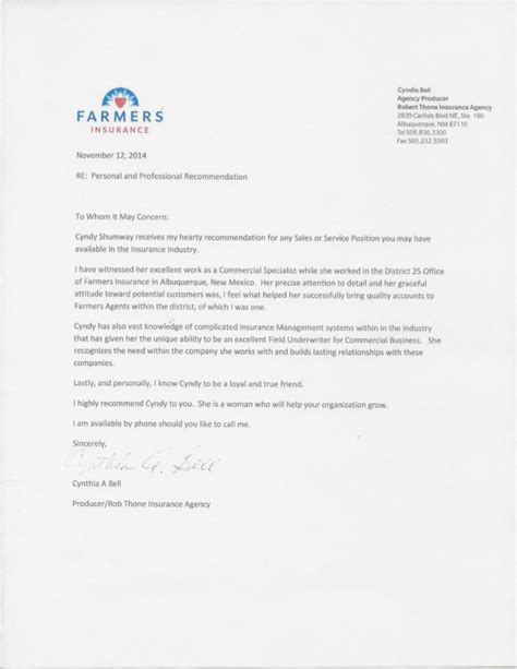 Farmers Insurance Letters letter of recommendation for cynthia shumway from cyndie bell agent