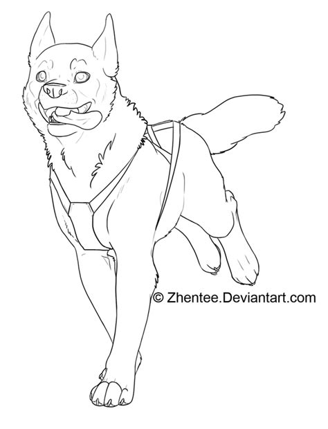 dog team coloring page sled dog free line art by zhentee on deviantart