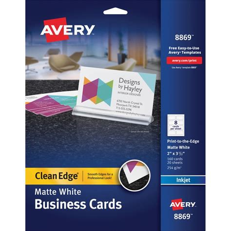 avery sided business card template avery 8869 clean edge custom 2 sided business cards the