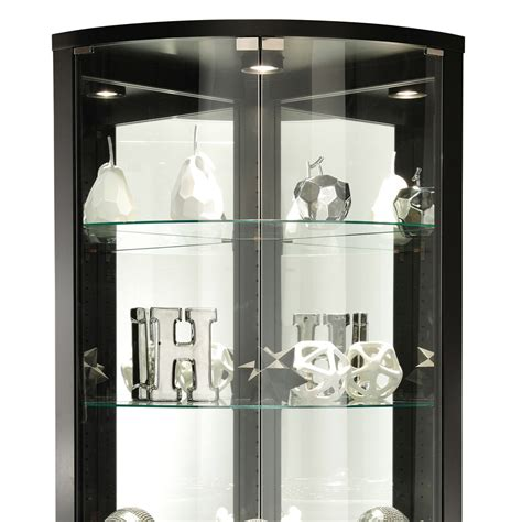 corner curio cabinets with glass doors modern black glass shelves interior lighting corner curio