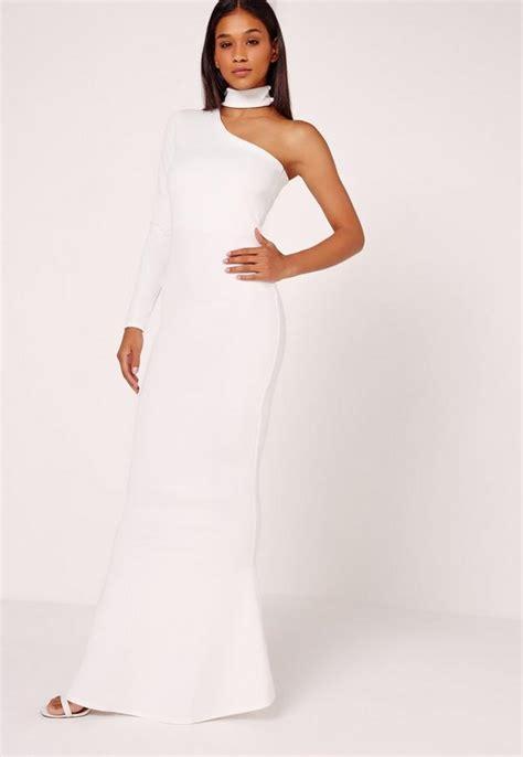 One Shoulder Chocker Dress one shoulder choker neck maxi dress white missguided