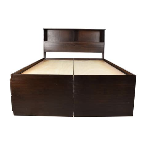 captains bed with bookcase headboard queen captains bed american merlot solid pine twinsized