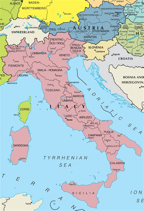 map of italy and germany italy and austria map mapsof net