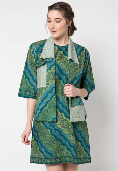 Watchout Original Kemeja Koko Lengan Panjang Olive dress batik motif lereng tritik mix by danar hadi me3163