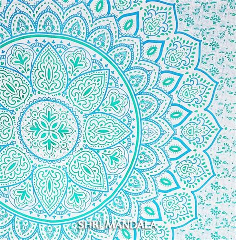 Queen Duvet Size Light Blue Green Hippie Mandala Duvet Cover With Two