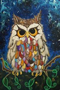 original little owl painting a magical owl in acrylic